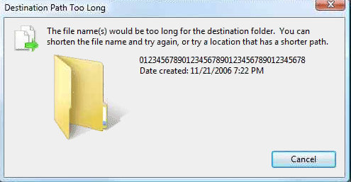 File name(s) would be too long for the destination folder