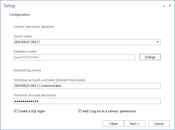 ApexSQL Monitor setup - Providing required configuration details