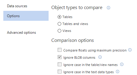 Project options tab - Specifying comparison and synchronization options