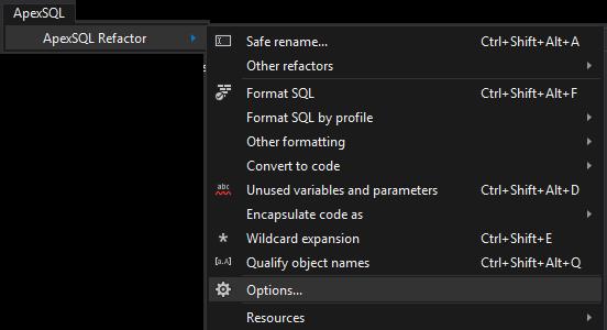 ApexSQL Refactor SSMS menu