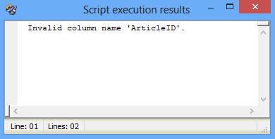 Script execution results dialog - execution failed