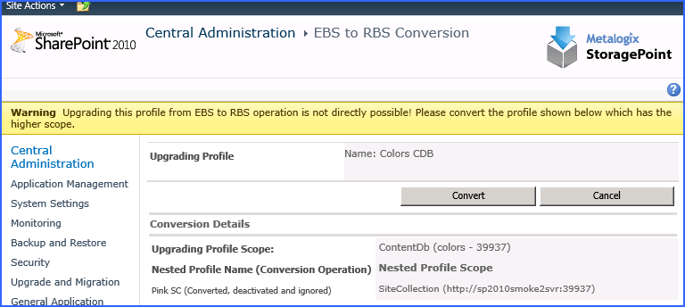 Converting a SC scoped profile with an EBS Parent profile.