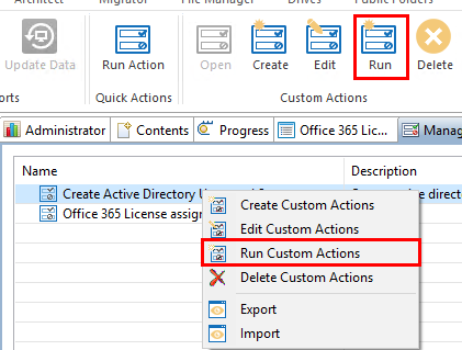 Administrator Quick and Custom Actions13