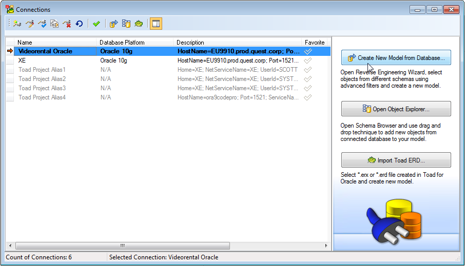 Toad data modeler 63 user guide select an existing connection and click create new model from database ccuart Images
