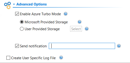 advanced options in Drives wizard