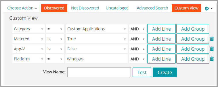 The Custom View panel contains a number of drop-down lists that you can use to specify criteria.