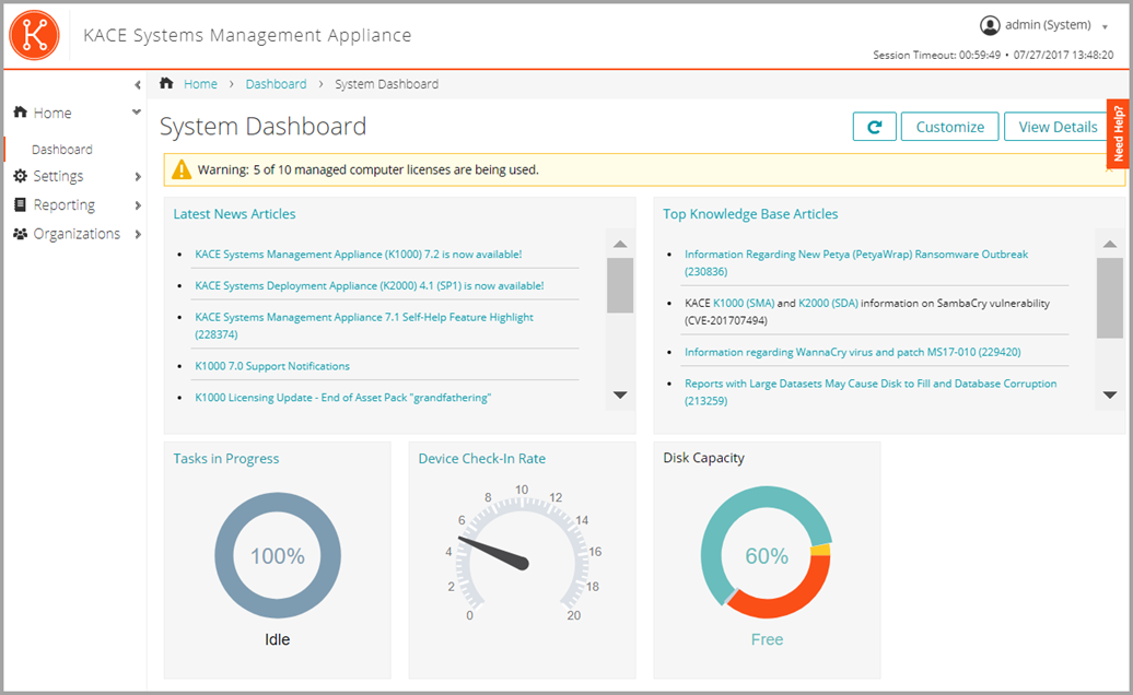 This image of the Dashboard displays Disk Capacity and Tasks in Progress widgets.