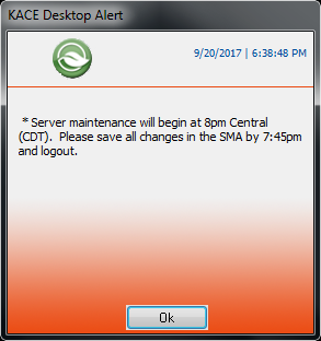 The image shows an alert dialog with a custom logo in place of the Dell logo at the top left.