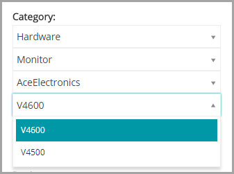 The categories in the image are Hardware, Monitor, AceElectronics, and V5000