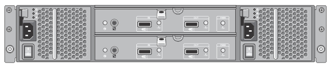 This figure shows the rear chassis of the EMM on the MD1200 enclosure, with the two SAS In and two SAS Out ports.