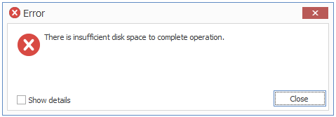 There is insufficient disk space to complete operation\