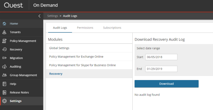 On Demand Recovery Current - Release Notes